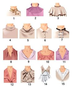 """Types of collars in pictures: 1. Chinese stand-up collar. 2. Stand lace collar. 3. Collar """"Bertha."""" 4. Collar golf. 5. Collar clamp. 6. Collar shirts. 7. Mao collar stand. 8. Padded collar """"dog ears"""". 9. Shawl collar. 10. Peter Pan. 11. Collar with lapels. 12. Collar with lapels and cuffs. 13. Collar-bow. 14. Jabot. 15. Marine collar."""