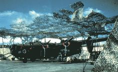 B-24 Liberator 'Rapid Robin' of the 431st Bomb Squadron parked under camouflage netting at Bellows Field Oahu US Territory of Hawaii late summer 1943.