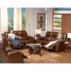 Catnapper Dallas Leather Reclining Sofa Set   Tobacco   Complete Relaxation  Is As Close As Your