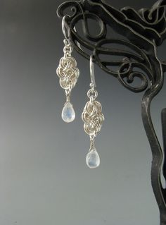 Chainmaille Earrings Cloud Cover with Rainbow by WolfstoneJewelry, $24.00