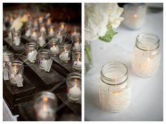 The mason jars with the lace would be perfect for up in the trees. @Courtney Brown
