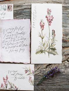 Handpainted invitation & stationary inspiration via Wildfield Paper Co.