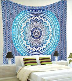 Blue Ombre Mandala Bohemian Yoga Beach Wall Boho Tapestry - GoGetGlam