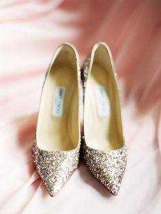 Glittery Jimmy Choo heels: http://www.stylemepretty.com/little-black-book-blog/2016/06/02/cakes-as-centerpieces-for-florida-spring-wedding/   Photography: Jacqui Cole Photography - http://jacquicole.com/
