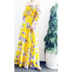 Bohemian Strapless Floral Print Maxi Dress For Women $20.23