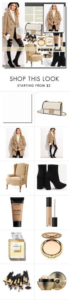 """Camel Double Breasted Coat With Welt Pocket"" by fashiondiary5 ❤ liked on Polyvore featuring Sure Fit, NYX, Laura Mercier, Guerlain and romwe"