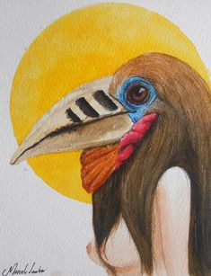 Rufous-necked hornbill em aquarela, por: Marcela Lauber #Rufousneckedhornbill #calau #hornbill #passaro #ave #bird #human #woman #magic #watercolor #nature #natureza #artistico #surrealism #aquarela #artistasbrasileiros