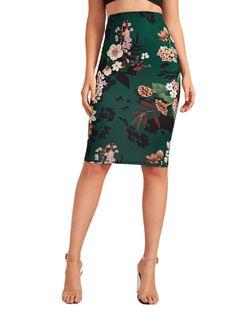 DIDK Women's Floral Print High Waist Slim Midi Pencil Skirt