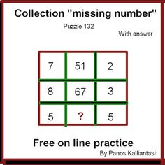 """Brain teasers and puzzles: """"missing number-puzzle 132"""" Mind Puzzles, Brain Teasers With Answers, Missing Number, Number Puzzles, Numbers, This Or That Questions, Math, Collection, Math Resources"""