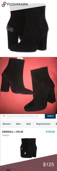 """NWT Kendall & Kylie Black Suede """"Haedyn"""" Booties Size 7.5M. NWT. Originally 195$, two very small marks in the right shoe, shown up close and from afar, they're very hard to notice. Kendall & Kylie Shoes Ankle Boots & Booties"""