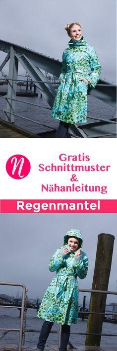 Kostenloses Schnittmuster für einen Regenmantel zum selber nähen. PDF-Schnittmuster Gr. 36 - 44 ✂ Nähtalente.de - Magazin für kostenlose Schnittmuster ✂ Free sewing pattern for a woman raincoat in size 36 - 44.