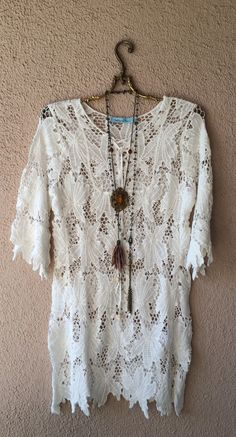 Maui designer bohemian beach crochet resort dress or fall getaway with boots / Bohemian Angel