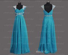 cap sleeve prom dresses blue prom dress dresses for by okbridal, $169.00   I want! I want! I want!