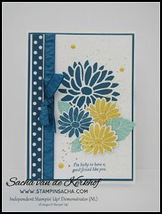 Stampin' Sacha - Stampin' Up! - Spring/Summer Catalogue 2017 - Special Reason - Stylish Stems Framelits - In Colors 2016-2018 Designer Series Paper - Dapper Denim Ruched Ribbon - Pool Party - Daffodil Delight - Colour Challenge - Friendship - #stampin_sacha - #stampinup - #friendship
