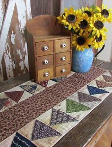 "Wonderfully Early Antique c1870 Table Runner Quilt 33x15"" Primitive Farmhouse 