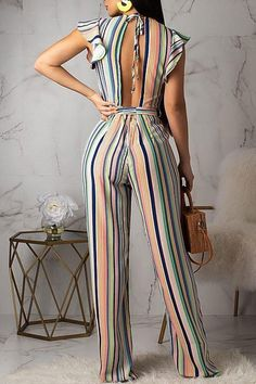 Women New Stylish Roaso Contracted Style Striped Jumpsuit Multi Sparkly Jumpsuit, Jumpsuit Dressy, Jumpsuit Outfit, Striped Jumpsuit, Wedding Jumpsuit, Black Jumpsuit, Striped Pants, Backless Maxi Dresses, Maxi Dress With Sleeves