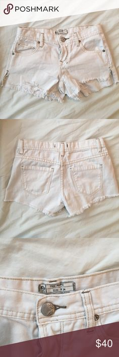 White mid-waist denim Free People shorts Button up white denim shorts. Great condition, only worn a handful of times Free People Shorts Jean Shorts