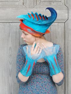 Nuno felted fancy cuffs, wrist warmers, blue and turquoise mittens,. Hair Accessories For Women, Winter Accessories, Felt Hat, Wool Felt, Blue Mittens, Funny Hats, Textiles, Wrist Warmers, Nuno Felting