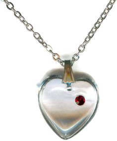 * Penny Deals * - Clear Heart Necklace with A Ruby Swarovski Element Chip P8525 -- Click image to review more details.