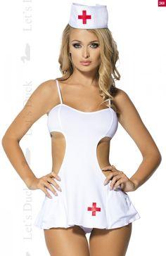 Let's Duck LD65 komplet Seksowny kostium pielęgniarki, seksowny fartuszek, wycięcia na wysokości bioder
