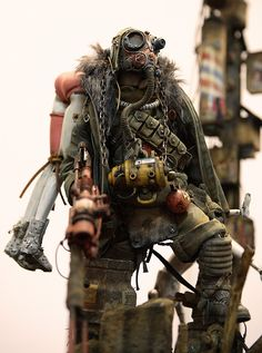 Post apocalyptic figurine by BHEAD Post Apocalyptic Costume, Post Apocalyptic Fashion, Character Concept, Concept Art, Character Design, 3d Character, Mad Max, Cyberpunk, Science Fiction