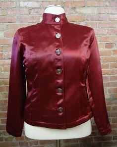 CHICO'S Burgundy Deep Red Satin Lightweight Jacket Blazer Size 1 (Medium 8/10) #Chicos #BasicJacket