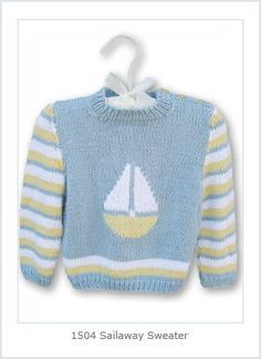 Ravelry: Sail Away Baby pattern by Hélène Rush: 3 month to 3 year Baby Boy Knitting Patterns, Knitting For Kids, Baby Patterns, Pullover Design, Sweater Design, Crochet Baby, Knit Crochet, Ravelry, Toddler Sweater