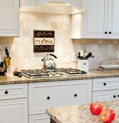 backsplash trends with venetian gold granite and white cabinets - Google Search