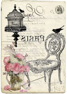 Shabby chic art print printable, pink roses and birdcage, chair. Vintage Paris, French Vintage, Printable Designs, Printable Art, Vintage Labels, Vintage Posters, Wax Paper Transfers, Foto Transfer, Images Vintage