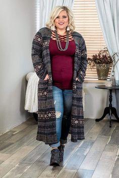 Urban Fashion Women, Black Women Fashion, Curvy Fashion, Plus Size Fashion, Womens Fashion, Plus Size Duster Cardigan, Plus Size Cardigans, Cardigan Outfits, Tunic Dresses