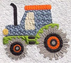 Top selling little boy construction vehicle quilt. What little guy wouldnt love this? All the blocks are appliqued onto a background. Take one or two of the blocks and make pillows or a wall hanging. All the templates are finished size.