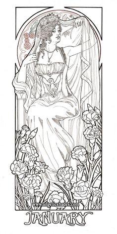 Lady Of January Line Art By AngelaSasser On DeviantArt