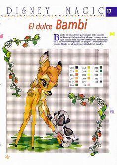Cross Stitch Embroidery, Embroidery Patterns, Cross Stitches, Bambi Disney, Disney Cross Stitch Patterns, Disney Stitch, Christmas Ornament Crafts, Cross Stitch Animals, Minnie