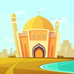 Mosque Building Illustration Free Poster, Lb Logo, Mosque Vector, Architecture Drawing Plan, Islamic Cartoon, Cute Cartoon Images, Book Background, Building Illustration, Anime Best Friends