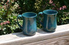 2 Pottery Mugs with Handles Dark Aqua Glaze NC by Beaverspottery, $32.00