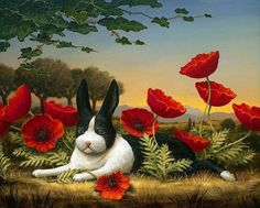 kevin sloan ~ rabbit in poppies Art And Illustration, Fantasy Kunst, Fantasy Art, Master Of Fine Arts, Rabbit Art, Bunny Rabbit, Bunny Art, Pop Surrealism, Woodland Creatures