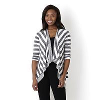152270 - Annalee + Hope Draped Front Striped Jersey Cardigan