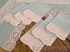 Vintage 50s Grey & Pink Organdy Lace Linen Runner, Placemats, & Napkins Set