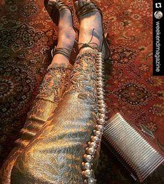 Pakistani embellished trousers by Ammara Khan. : Pakistani embellished trousers by Ammara Khan. Pakistani Couture, Pakistani Bridal Dresses, Pakistani Dress Design, Indian Couture, Pakistani Outfits, Indian Outfits, Pakistani Party Wear, Shadi Dresses, Indian Dresses
