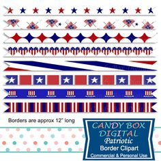 4th of July Patriotic Ribbon Borders by CandyBoxDigital. Great for digital scrapbooks and journals, blogs and websites, graphic designs, invitations, and all kinds of paper craft applications. At our Etsy shop.