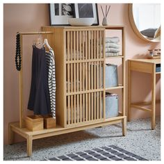 NORDKISA Open wardrobe with sliding door - bamboo - IKEA // i think this would be perfect for kids' storage. if nothing needs hanging, maybe milk crate-style boxes/bins on the left to use the space for more folded stuff. Open Wardrobe, Sliding Wardrobe Doors, Diy Wardrobe, Wardrobe Storage, Sliding Doors, Ikea Wardrobe Hack, Wardrobe Drawers, New Furniture, Furniture Design