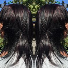 Deepened my clients base to a Redkin 2N with a 6Rv/40v & olaplex highlight! Turned out beautiful!!!! Then gave her this awesome shattered cut, so much movement!!