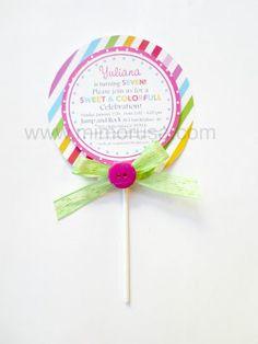 Example of Lollipop Invitation /  Ejemplo de Invitación paleta-lollipop  en MI MORUSA Arte Digital