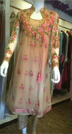 Pakistani dress in net fabrics Pakistani Wedding Outfits, Pakistani Bridal, Pakistani Dresses, Indian Dresses, Indian Outfits, Stylish Dresses, Fashion Dresses, Eastern Dresses, Lesage