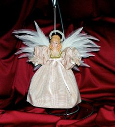 Angel Ornament Handmade Real Feather Wings Pearl by DollmakerNic, $35.00