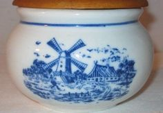 Vintage Salt Box Blue and White Dutch Windmill Wall Mount