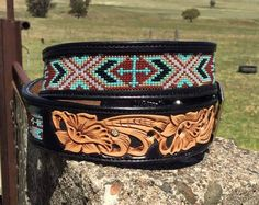 South west beaded belt made by DustyCowgirl Leather  Like us on Facebook