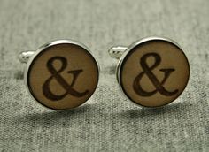 Wooden Ampersand Typography Cufflinks Gift Boxed. £16.99, via Etsy.