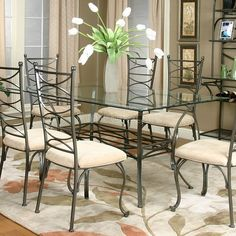 Xavier Rectangular Glass Dining Table    furniturecart.com $419