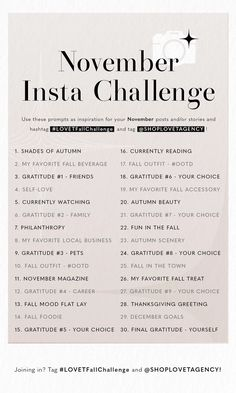 Fall Into November With Our First Instagram Challenge – LOVET AGENCY Social Media Challenges, Social Media Content, Social Media Tips, Social Media Marketing, Photography Challenge, Photography Business, November Challenge, Instagram Challenge, Creative Jobs